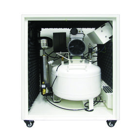 1HP 8 Gallon Oil-Free Steel Tank Air Compressor with Air Drying System in Soundproof Cabinet