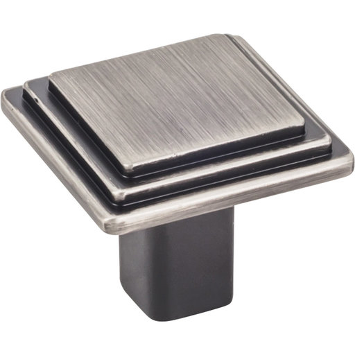 "View a Larger Image of Calloway Large Square Knob, 1-1/4"" O.L., Brushed Pewter"
