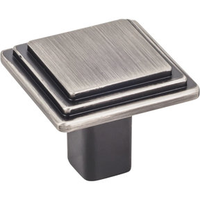 "Calloway Large Square Knob, 1-1/4"" O.L., Brushed Pewter"