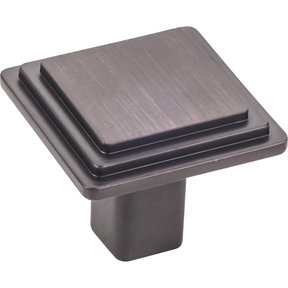 "Calloway Large Square Knob, 1-1/4"" O.L., Brushed Oil Rubbed Bronze"