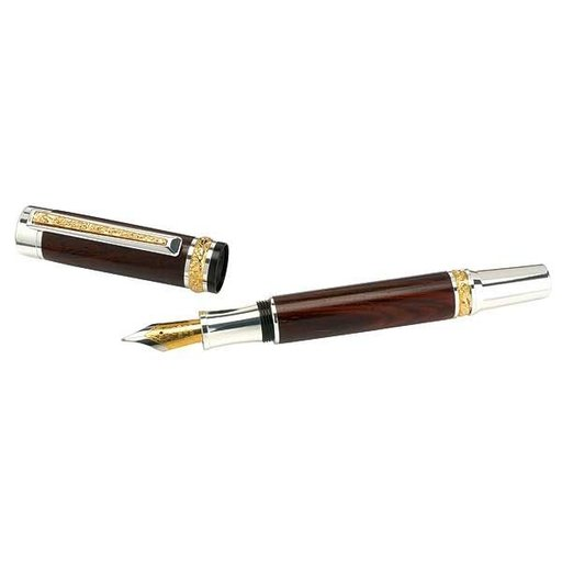View a Larger Image of Cambridge Hybrid Fountain Pen Kit - Sterling Silver with Woodcraft Gold