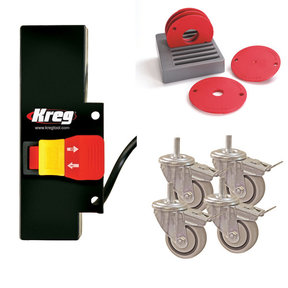 Casters, Switch and Insert Rings Set Router Table Accessory Kit