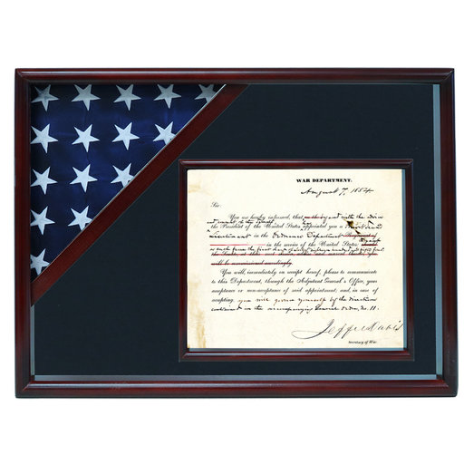 View a Larger Image of Ceremonial Flag and Doc Case, Cherry, Air Force Blue background