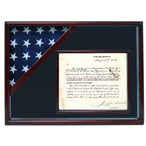 Ceremonial Flag and Doc Case, Cherry, Air Force Blue background