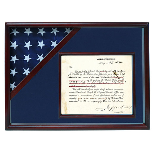 View a Larger Image of Ceremonial Flag and Doc Case, Cherry, Blue Velvet background