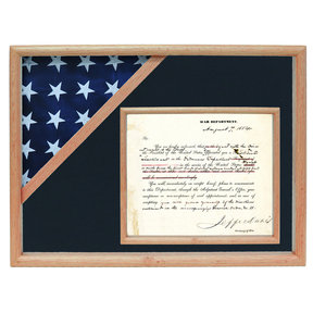 Ceremonial Flag and Doc Case, Oak, Air Force Blue background