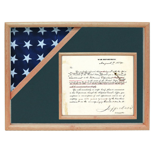 View a Larger Image of Ceremonial Flag and Doc Case, Oak, Army Green background