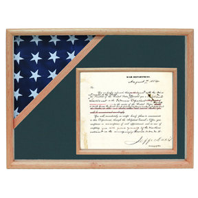 Ceremonial Flag and Doc Case, Oak, Army Green background