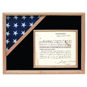 Ceremonial Flag and Doc Case, Oak, Black Velvet background