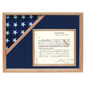 Ceremonial Flag and Doc Case, Oak, Blue Velvet background