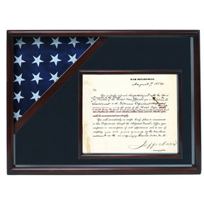 Ceremonial Flag and Doc Case, Walnut, Air Force Blue background