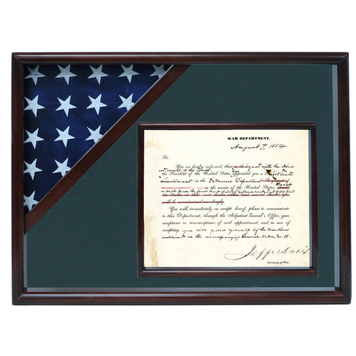 View a Larger Image of Ceremonial Flag and Doc Case, Walnut, Army Green background