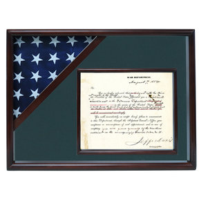 Ceremonial Flag and Doc Case, Walnut, Army Green background