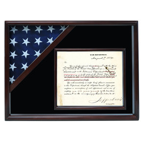 Ceremonial Flag and Doc Case, Walnut, Black Velvet background