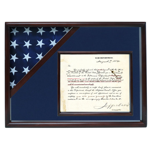 View a Larger Image of Ceremonial Flag and Doc Case, Walnut, Blue Velvet background