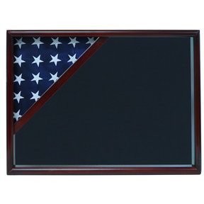 Ceremonial Flag Corner Case, Cherry, Air Force Blue background