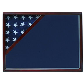 Ceremonial Flag Corner Case, Cherry, Blue Velvet background