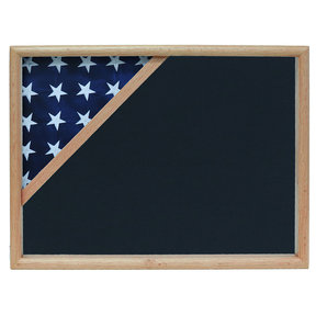 Ceremonial Flag Corner Case, Oak, Air Force Blue background