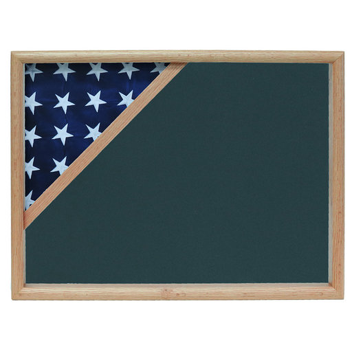 View a Larger Image of Ceremonial Flag Corner Case, Oak, Army Green background