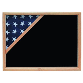 Ceremonial Flag Corner Case, Oak, Black Velvet background