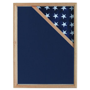 Ceremonial Flag Corner Case, Oak, Blue Velvet background