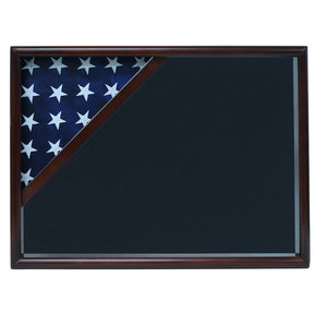 Ceremonial Flag Corner Case, Walnut, Air Force Blue background