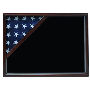 Ceremonial Flag Corner Case, Walnut, Black Velvet background
