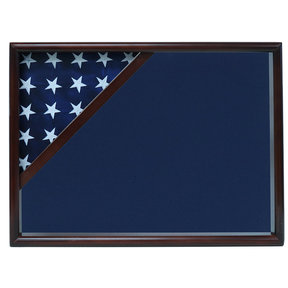 Ceremonial Flag Corner Case, Walnut, Blue Velvet background