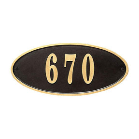 Claremont Oval Cast Aluminum Black with Gold Border Address Plaque