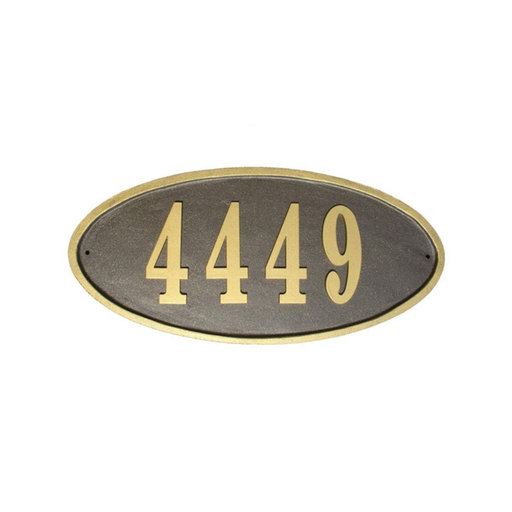 View a Larger Image of Claremont Oval Cast Aluminum Bronze with Gold Border Address Plaque