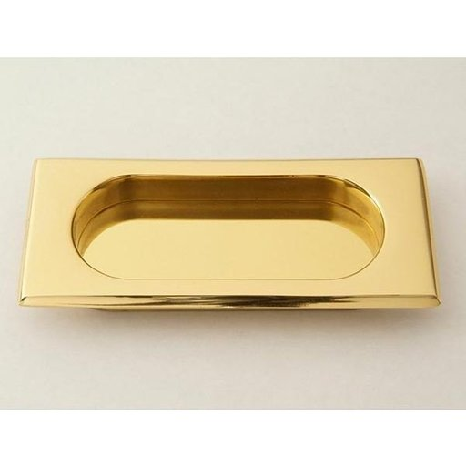 View a Larger Image of Rectangular Flush Pull, Polished Brass, 9710PB