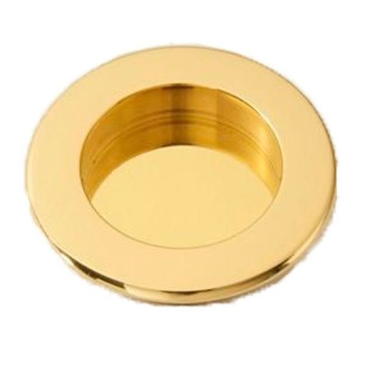 View a Larger Image of Round Flush Pull, Polished Brass, 9715PB