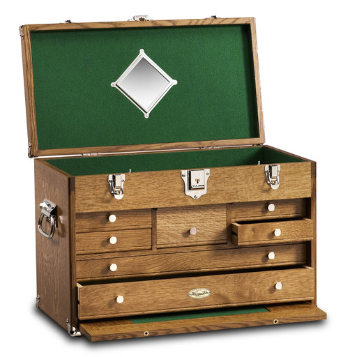 View a Larger Image of Classic Tool Chest & Base Set in Quarter Sawn Golden Oak
