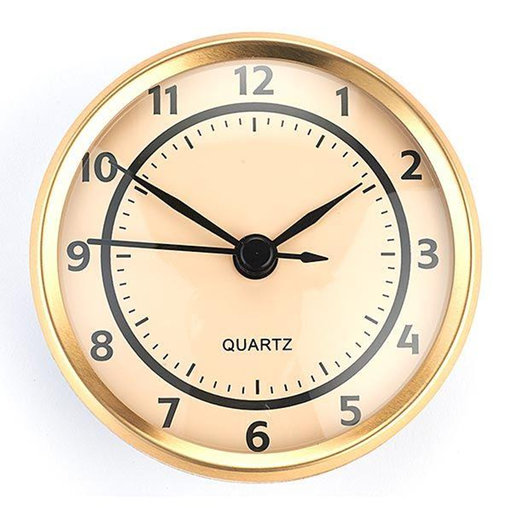 View a Larger Image of Clock Fit-up-Arabic w/Ivory Dial and Brushed Gold Bezel