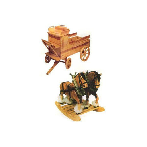 View a Larger Image of Clyde 'N Dale Rocking Horses with Wagon Toy Box Woodworking Plan