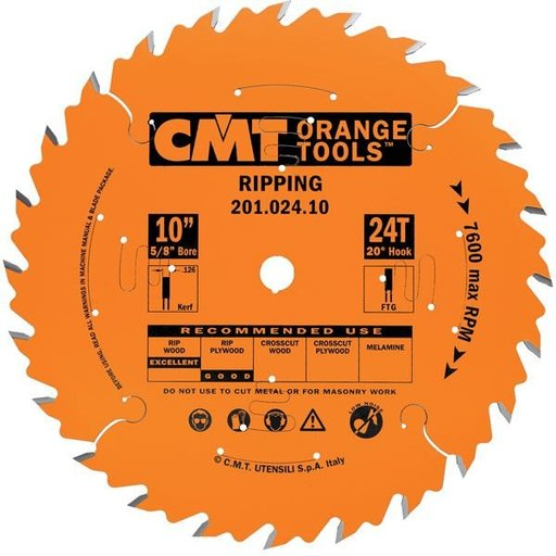 "View a Larger Image of 201.020.08 Circular Saw Blade 8"" x 5/8"" Bore x 20 Tooth FTG"