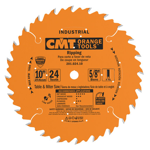 """View a Larger Image of 201.024.10 Circular Saw Blade 10"""" x 5/8"""" Bore x 24 Tooth FTG"""