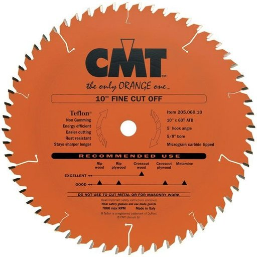 """View a Larger Image of 205.060.10 Circular Saw Blade 10"""" x 5/8"""" Bore x 60 Tooth ATB"""