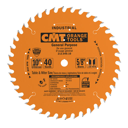 "View a Larger Image of 213.040.10 Circular Saw Blade 10"" x 5/8"" Bore x 40 Tooth ATB"