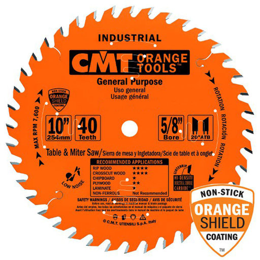"""View a Larger Image of 214.040.10 Circular Saw Blade 10"""" x 5/8"""" Bore x 40 Tooth ATB"""