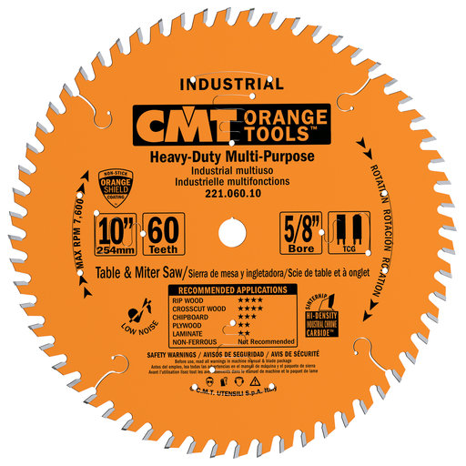 "View a Larger Image of 221.060.10 Circular Saw Blade 10"" x 5/8"" Bore x 60 Tooth TCG"