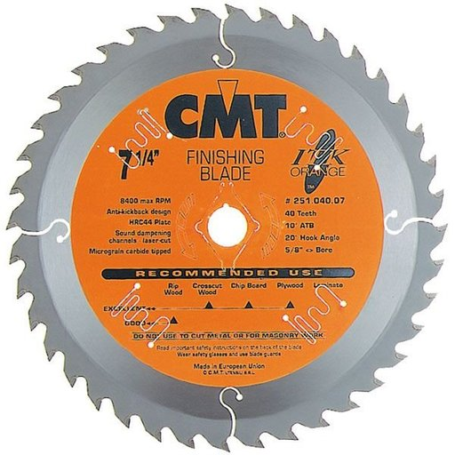 "View a Larger Image of 251.040.07 Circular Saw Blade 7-1/4"" x 5/8"" Bore x 40 Tooth ATB"