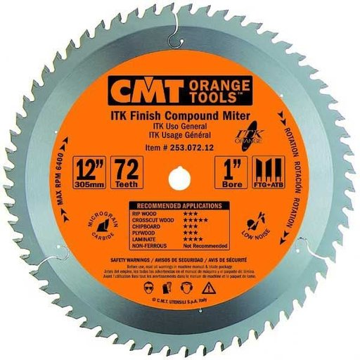 "View a Larger Image of 253.072.12 ITK Finish Compound Miter Saw Blade, 12"", 72 Teeth"