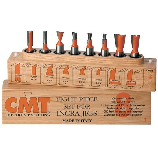 "View a Larger Image of 800.501.11 8 Piece Dovetail And Straight Router Router Bit Set 1/2"" Shank"