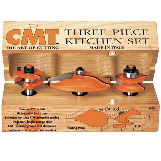"View a Larger Image of 800.513.11 3 Piece Kitchen Router Bit Set A Ogee/Ogee Profile 1/2"" Shank"