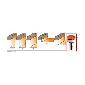 """801.127.11B Mortising Router Bit with Top Bearing 1/4""""SH 1/2""""D 3/4""""CL 1/2""""BD"""