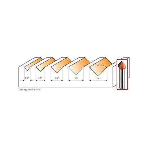 """View a Larger Image of 815.660.11 90 Degree V-Grooving Router Bit 1/2""""SH 5/8""""D 1/2""""CL"""