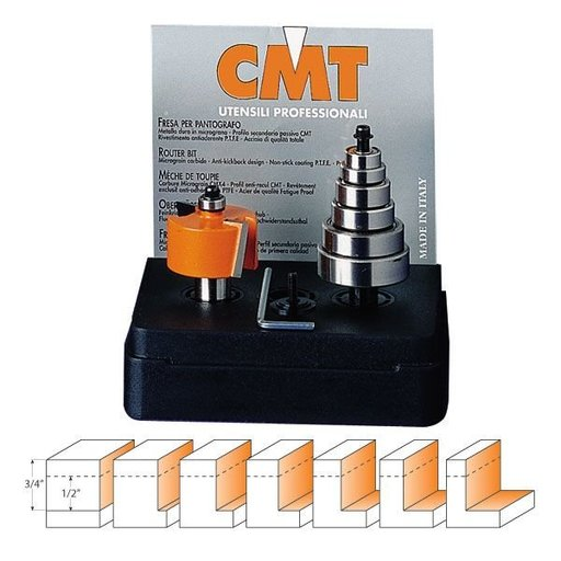 "View a Larger Image of 835.001.11 Multi-Purpose Rabbeting Router Bit Set 1/4""SH 1/8""-1/2""CD 1-3/8""D 1/2""CL"