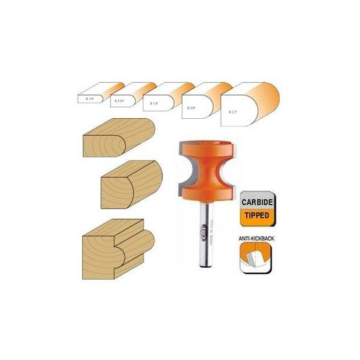 "View a Larger Image of 854.502.11 Bull Nose Router Bit 1/2"" SH 1/8"" R 1/4"" BD 7/8"" OD 3/4"" CL"