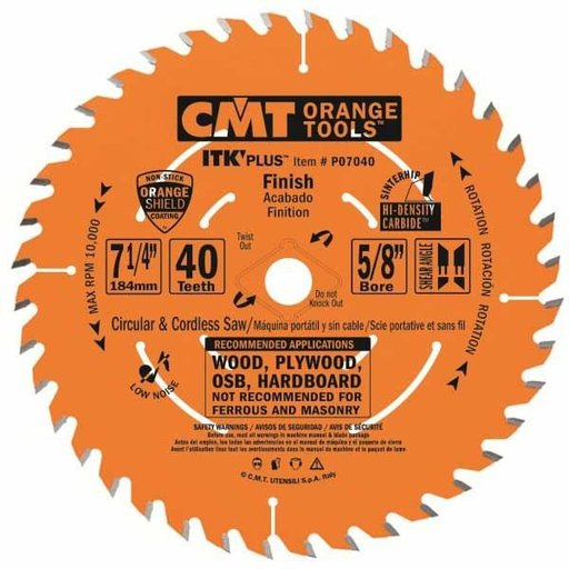 "View a Larger Image of P07040-X10 Finish Saw Blade, 7-1/4"" x 40T x 5/8"" bore, 10 pack"